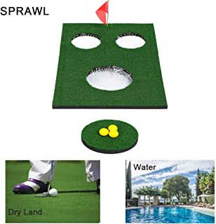 SPRAWL Floating Golf Cornhole Green Board Set- Two Boards & Two Putting Mats & 6 Balls for Holiday Beach Vacation Swimming Pool Party
