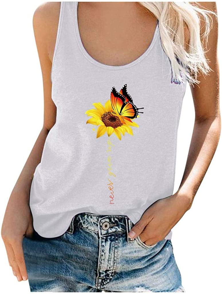 Top Sleeveless Vest Chrysanthemum and butterfly Print Camisoles Tanks Tops Women Blouse Ladies Fashion Crew Neck Shirts