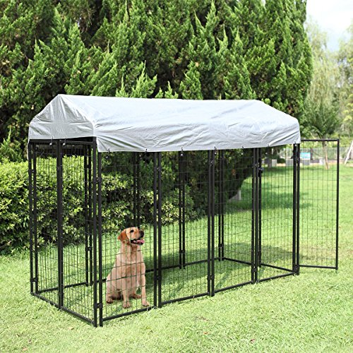 JAXPETY Large Dog Uptown Welded Wire Kennel Outdoor Pen Outside Exercise Crate Pet Wire Cage w/ Roof