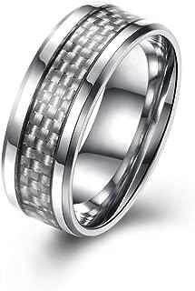 YLR WIBERN 8MM White Blue Black Carbon Fiber Inlay Men's Engagement Promise Tungsten Band Ring