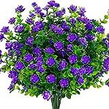 4 Piezas Flores Artificiales,Resistentes a los Rayos UV Plantas,para Interior y Exterior decoración,Decoración de arbustos jardín,Ventana Porche Cocina Colgantes Plantas Decoración (Púrpura)