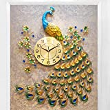 Luxury Peacock Wall Clock Living Room Bedroom Silent Wall Watch Creative Metal Digital Clock Wall Modern Design Clocks Home Decor,B