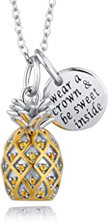 Sterling Silver 3D Pineapple Pendant Necklace with CZ Paved Inspirational Fruit Jewelry for Friend Sister Mom Wife Daughter 18''