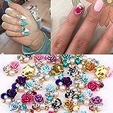 36 piezas de flores de colores en 3D para decoración de uñas con diamantes de imitación de cristal, 9 diseños mezclados de tamaño perfecto para decoración de uñas