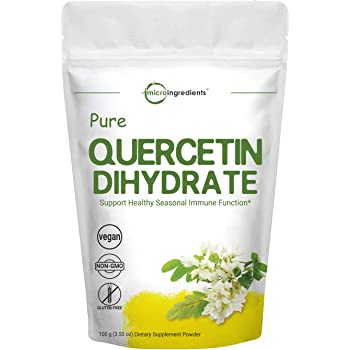 Maximum Strength Pure Quercetin Dihydrate Powder, 100 Gram, Quercetin Vitamins, Powerfully Supports Energy, Immune Health and Antioxidant, No GMOs and Vegan Friendly