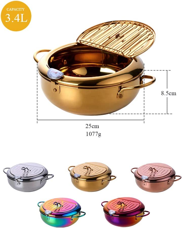 Plhzh Friteuse, Friteuse à Température Réglable De Cuisine Domestique, Petite Poêle à Frire Profonde, Outils De Cuisson écoénergétiques Rainbow