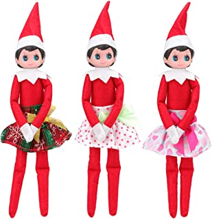 Mylass 3 Pcs Skirts Set EU CE-EN71 Certified Include Christmas Clothes Party Grown Outfits for Elf on The Shelf Doll (Not Include Doll)