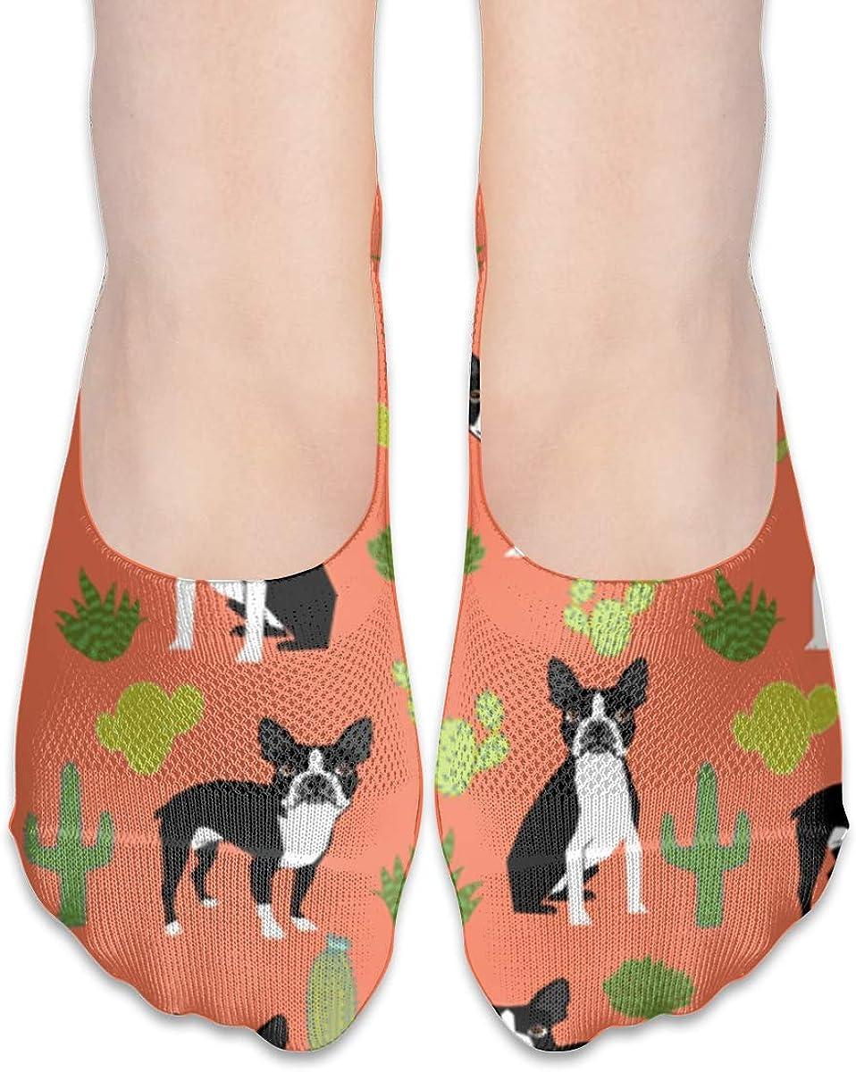 No Show Socks Women Men For Boston Terrier Dogs Cactus Orange Flats Cotton Ultra Low Cut Liner Socks Non Slip