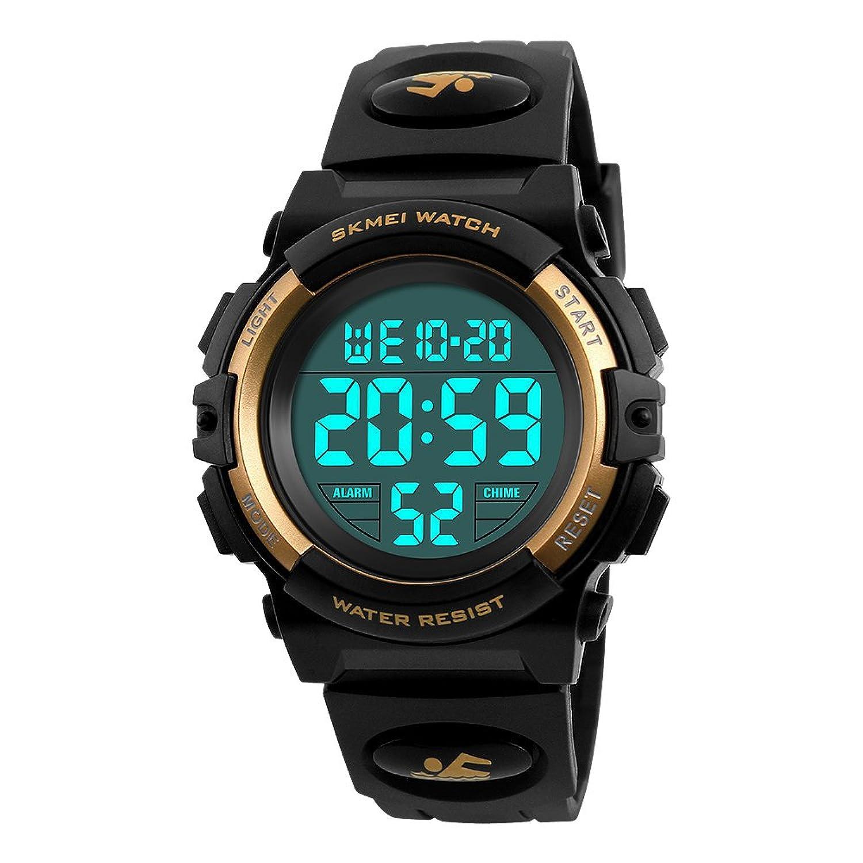 「ミミコウ」子供 時計 デジタル 腕時計 スポーツ キッズ 女の子 男の子 小学生 中学生 防水 目覚まし時計 多機能 おしゃれ おもちゃ (ゴールド)