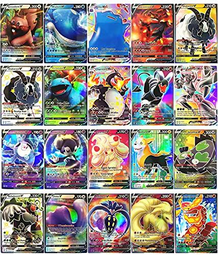 RULY - Carte Pokemon VMAX, 60 pezzi (3 carte VMAX + 17 carte V), carte Flash Pokémon V e VMAX, gioco di carte, di battaglia, interattivo, per bambini.