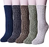 Pack of 5 Womens Winter Socks Warm Thick Knit Wool Soft Vintage Casual Crew Socks Gifts (Multicolor 01b3 (5pairs))