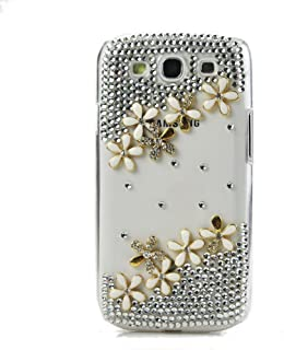 STENES Alcatel One Touch Fierce XL Case - [Luxurious Series] 3D Handmade Shiny Crystal Sparkle Bling Case With Retro Bowknot Anti Dust Plug - Flowers Floral/White