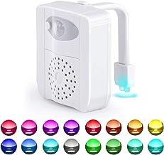 Toilet Bowl Light, Motion Sensor Night Light, 16 Colors LED UV Toilet Night Light with 2 Aromatherapy tablets, Color Chang...