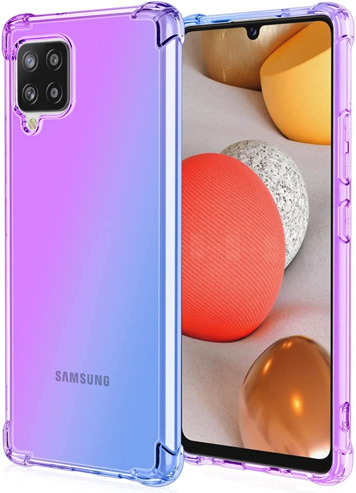 Osophter for Galaxy A42 5G Case Galaxy M42 5G Case Clear Transparent Reinforced Corners TPU Shock-Absorption Flexible Cell Phone Cover for Samsung Galaxy A42 5G(Purple Blue)