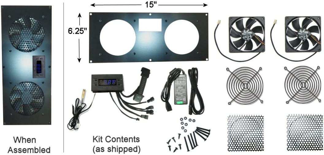 Coolerguys Programmable Thermostat Cooling Kit for Cabinets, AV, and Components (Metal, Dual 120mm Pro)