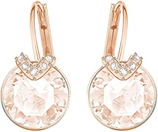 Swarovski Crystal Medium Pink Rose Gold-Plated Bella V Earrings