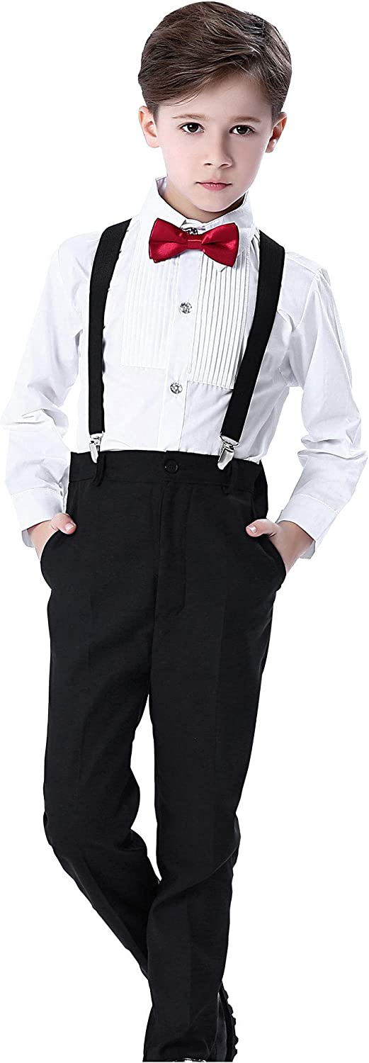 FEOYA Boys Formal Slim Suspender Set with Bow Tie Shirt Pants and Straps