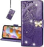 COTDINFOR Compatible with Samsung Galaxy S20 FE Hülle Diamant Schutzhülle Magnet Handytasche Kartenfächer Lederhülle Flip Handyhüllen für Galaxy S20 FE 5G / S20 Lite Cover Diamond Butterfly Purple SD