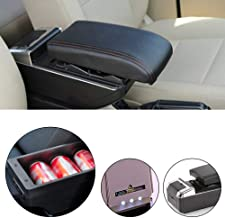 carado Custom fit Auto Center Console Armrest Storage Box for 2009-2017 Ford Fiesta 3 MK7 with Built-in LED Light, Leather Pad, Ashtray & Cup Holder Black