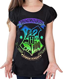 Harry Potter Youth Girls Fashion Top Side Tie Hogwarts Crest (Medium)