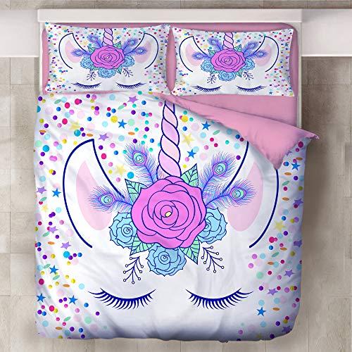 Just Contempo - Set copripiumino per letto singolo e matrimoniale, motivo: unicorno, in cotone, 135 x 200 cm, colore: Rosa e Blu