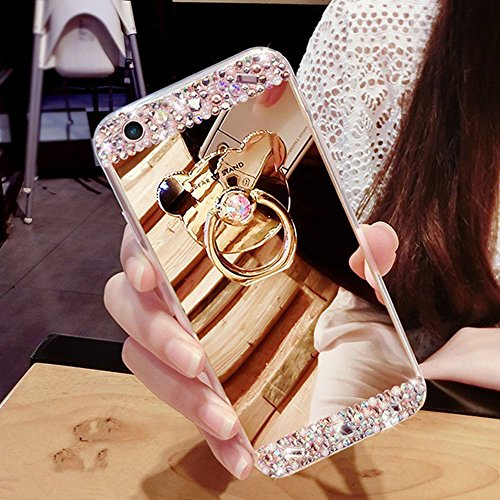 COTDINFOR iPhone 5S Mirror Makeup Custodia for Girls Ultra Sottile Standing Cover Luminoso Diamante Glitter Mirror Case TPU for iPhone 5S / 5 / SE Bear Ring Mirror Gold.