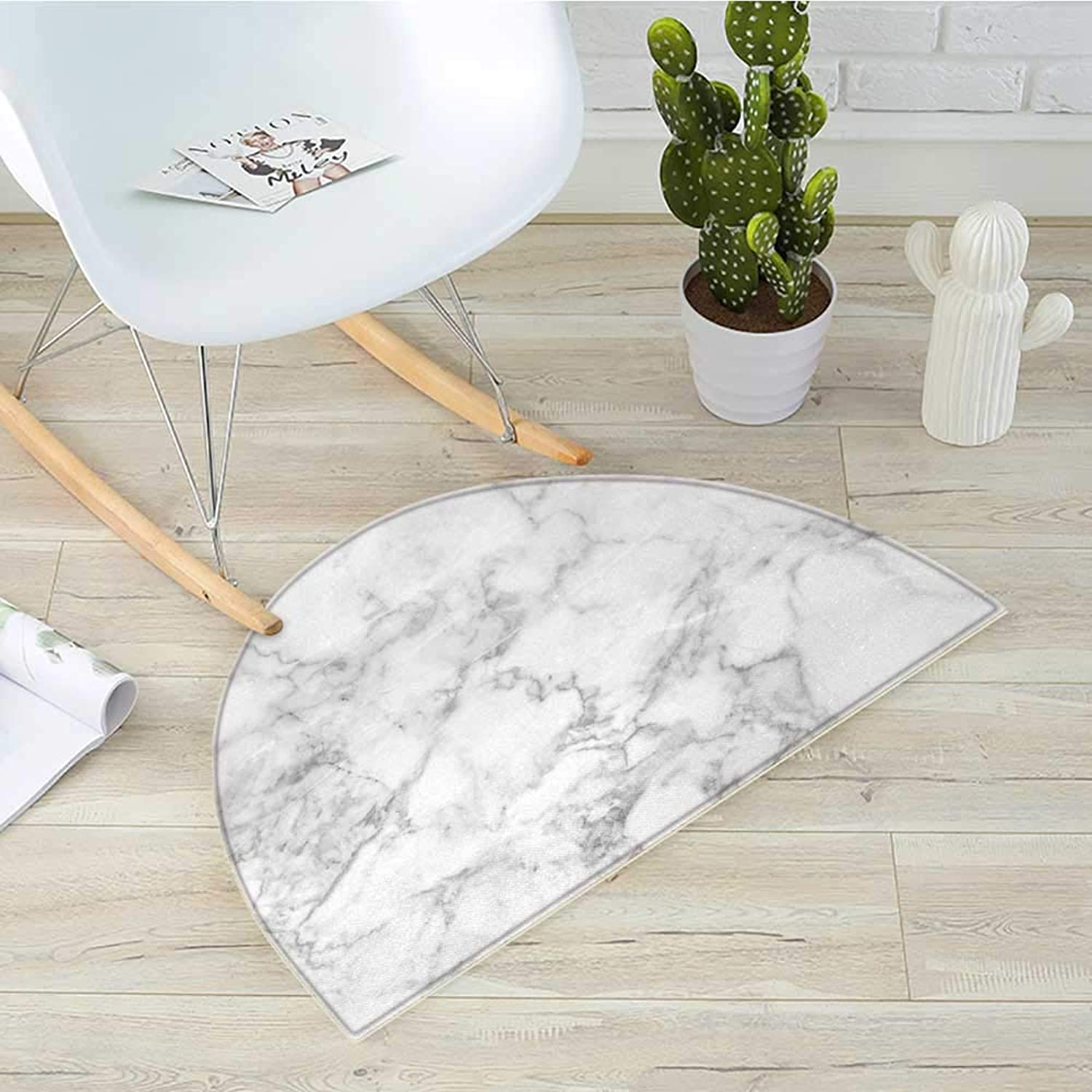 Marble Half Round Door mats Nature Granite Pattern with Cloudy Spotted Trace Effects Marble Artistic Image Bathroom Mat H 43.3  xD 64.9  Pale Grey Dust