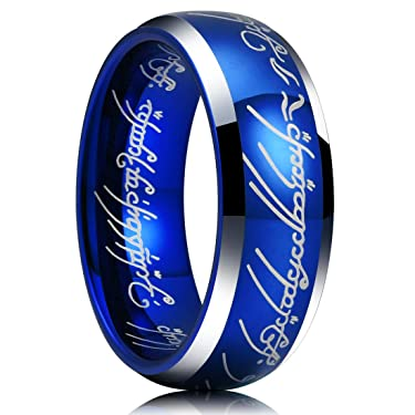 King Will Magic 7mm Tungsten Carbide Wedding Band Sapphire Blue Lord of Ring Comfort Fit Highly Polished