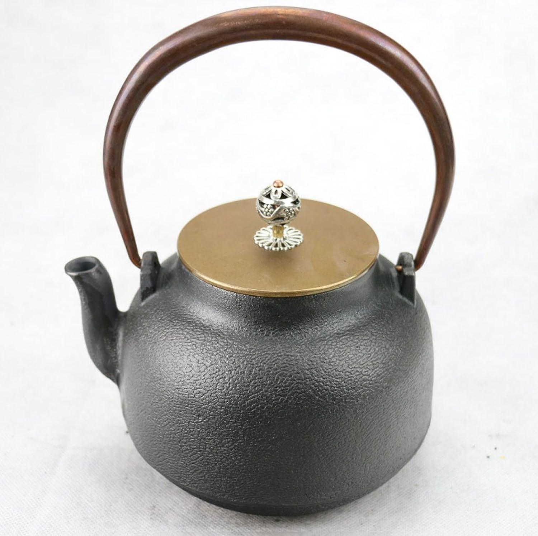 Q-HL Théières En fonte japonaises théière Bouilloire en fer forgé, Bouilloire en fonte, Fait à la main, Sans couvercle, Couvercle en cuivre, Service à thé 1,2 L (2,0 Kg)