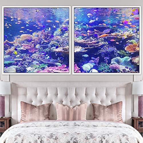 "bestdeal depot Marine Life Multicolor Photography 2 Panels Framed Canvas Wall Art Prints for Living Room,Bedroom Framed Artwork Decoration Ready to Hang - 24""x24""x2 Panels"