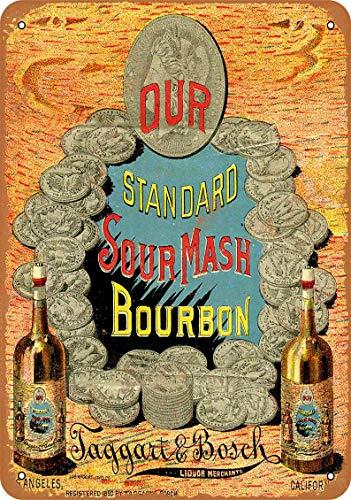 Blechschild, 1890 Taggart & Bosch Sour Mash Whiskey, 20 x 30 cm, Vintage-Dekor