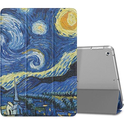 MoKo Funda para 2018/2017 iPad 9.7 6th/5th Generation - Ultra Slim Función de Soporte Protectora Plegable Smart Cover Trasera Transparente Durable - Noche Estrellada (Auto Sueño/Estela)