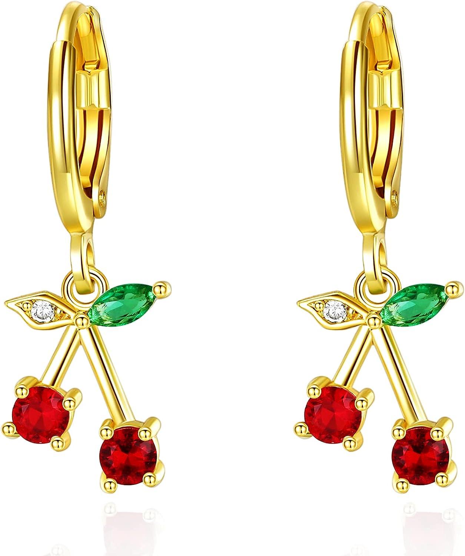 VONSSY Cherry Earrings | Red Drop Dangle & Stud Earrings