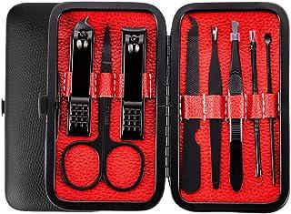 JY Manicura y Pedicura,Personal Acero Inoxidable Nail Clippers Scissors Grooming Kit Personal , Caso de Viaje, Cortauñas d...