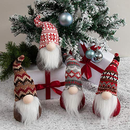 XAMSHOR Handmade Christmas Gnome Tomte Plush Elf Scandinavian Santa with Bendable Nordic Hat for Home Table Decorations Gift (4 Pcs)
