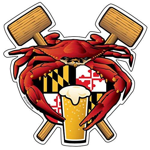 Citizen Pride Maryland Crab Feast Crest Sticker Decal die Cut Vinyl, 4.5x4.5, Made in USA