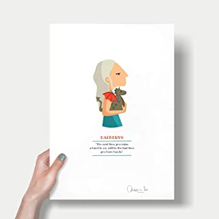 """Stampa""""Daenerys"""". Disponibile in due misure: A4 / A3. Citazione inclusa della serie televisiva."""