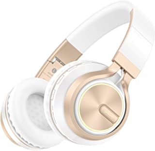Picun Wireless Bluetooth Headphones 20 Hrs Over Ear, Romantic LED Light HiFi Stereo Headset with HD Mic & Bag, Foldable, Soft Protein Earpad, Wired/TF Mode for Phone PC Cellphone Tablet (White Gold)