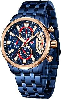 MINI FOCUS Stainless Steel Watches for Men Fashion Sport Chronograph Watch Man Luxury Luminous Quartz Wristwatch Blue Rose...