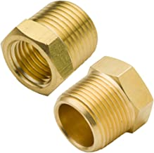 Boeray 2pcs 1/2 Inch NPT Male to 1/4 Inch NPT Female Reducer Brass Pipe Hose Tube Fitting Reducing Hex Head Bushing Adapter Convert