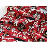 TINGCHAO Tela De Algodón Puro Arquitectura De Estilo Japonés Que Atrae Lindo Patrón De Gato Tela Delicada Brillante Hecha A Mano para Juegos De Cama 110X45cm,Rojo