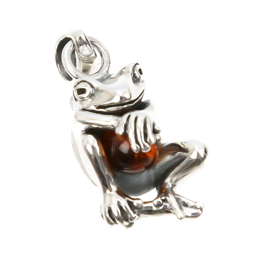 保安迷路企業ジナブリング (JINA BRING) シルバーペンダント シルバー925 アンバー 琥珀 幸運のお守り 可愛い 蛙 カエル ペンダント トップ メンズ レディース