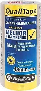 Fita para Empacotamento, Adelbras 0811000018, Transparente, Pacote de 4