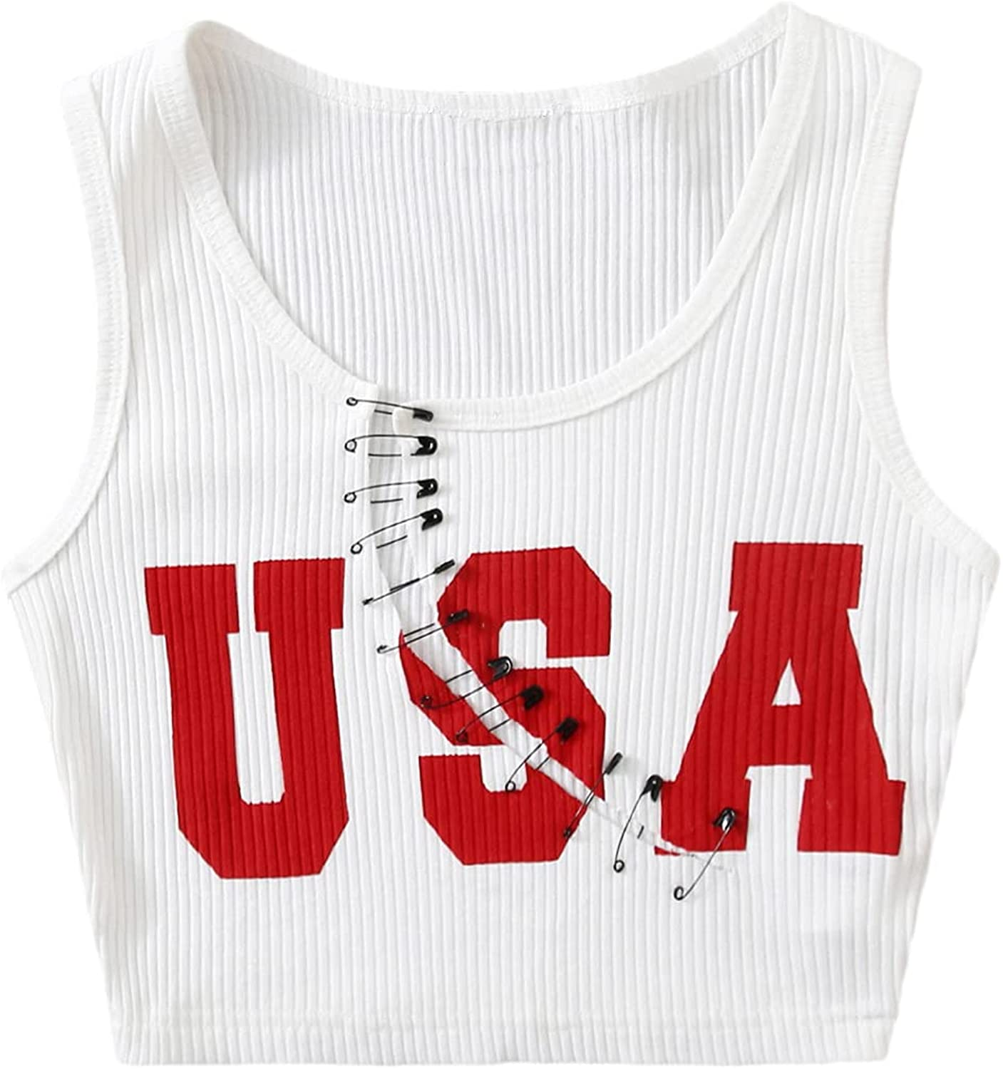 Floerns Women's Sleeveless Scoop Neck Ribbed Letter Graphic Print Crop Tank Top