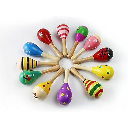 MUROAD 4 piezas Maracas de madera Juguetes educativos musicales para niños, juguetes de madera sonajero shakers musical Regalos para recién nacidos, colores y patrones aleatorios