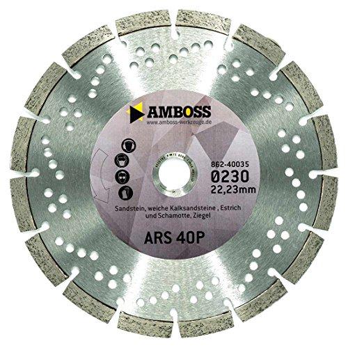 Amboss ARS 40P - Diamant-Trennscheibe Ø 115 mm x 22,2 mm - Sandstein / weiche Kalksteine / Estrich / Schamotte / Ziegel | Segmenthöhe: 10 mm (gesintert)