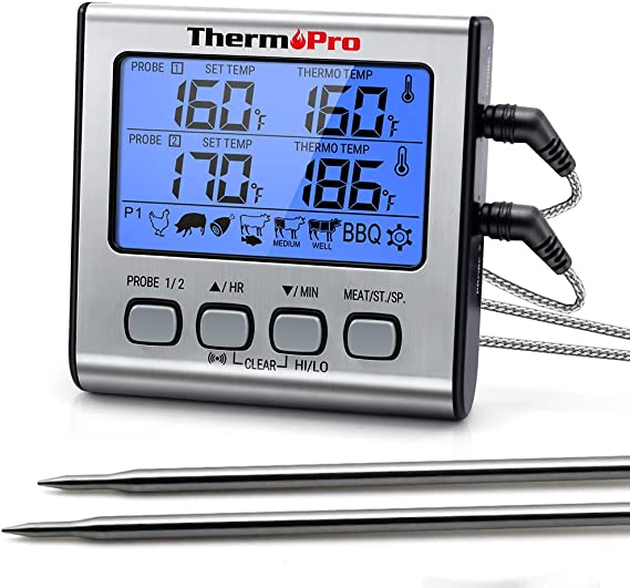 ThermoPro TP-17 Dual Probe Digital Cooking Meat Thermometer Large LCD Backlight Food Grill Thermometer with Timer Mode for Smoker Kitchen Oven BBQ