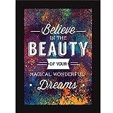 FATMUG Synthetic Encouraging Quotes Believe in Dreams Art Photo Frames (Medium)