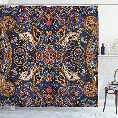 ABAKUHAUS Paisley Duschvorhang, Marokkanische Floret Antik, mit 12 Ringe Set Wasserdicht Stielvoll Modern Farbfest & Schimmel Resistent, 175x200 cm, Königsblau & Sandbraun