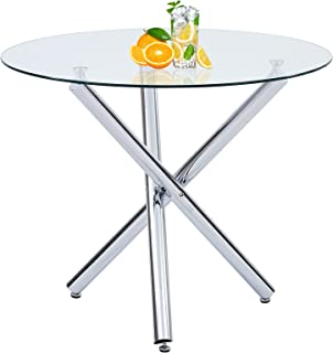 Round Glass Dining Table,Nopurs Dining Room Table with...